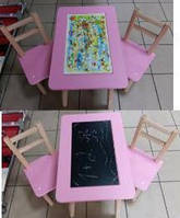 """Столик-пенал розовый  + 2 стула """"Настольная игра- рисования мелом"""""""