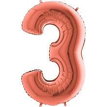 """Шар цифра  """"3"""" розовое золото 100 см с гелием"""