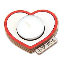 """Романтический деревянный подсвечник Сердце с надписью """"For You"""" + свеча в подарок"""