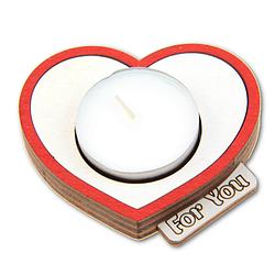 """Подсвечник деревянный """"For You"""" + свеча в подарок"""
