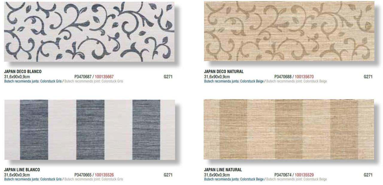 Керамическая плитка Porcelanosa Japan/Portblack/Desert 31,6x90