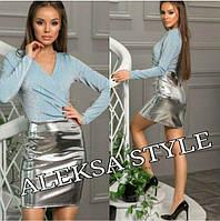 Женская стильная юбка из кож зама, в расцветках