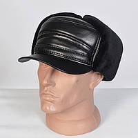 Зимняя мужская шапка - ушанка с козырьком - 29-745