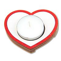 Романтический деревянный подсвечник Сердце + свеча в подарок