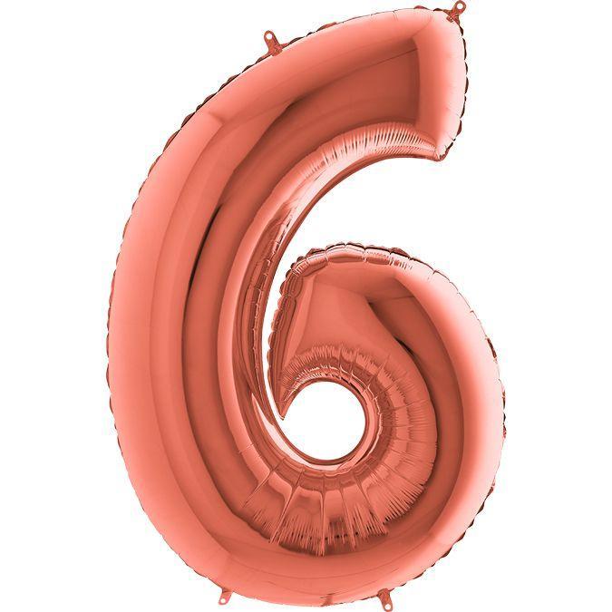 """Шар цифра """"6"""" розовое золото 100 см с гелием"""