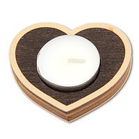 Романтический деревянный подсвечник Сердце венге + свеча в подарок