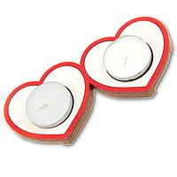 Романтический деревянный подсвечник  Сердца Двух + две свечи в подарок