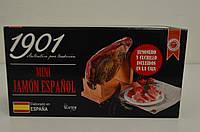 Подарочный набор в упаковке Mini Jamon Espanol ( хамон(800 г), деревянная подставка, нож для нарезки), фото 1
