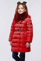 Красная детская стеганная куртка утепленная на молнии 28-42