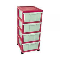 Пластиковый розово-зеленый комод Classic Elif Plastik 300-10LF