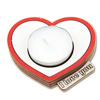 """Романтический деревянный подсвечник Сердце с надписью """"I Love you"""" + свеча в подарок"""