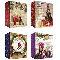 """Пакет подарочный бумажный """"Merry Christmas"""", Микс 1, 31*40*12см., цена за уп. в уп. 12шт.(480шт.)"""