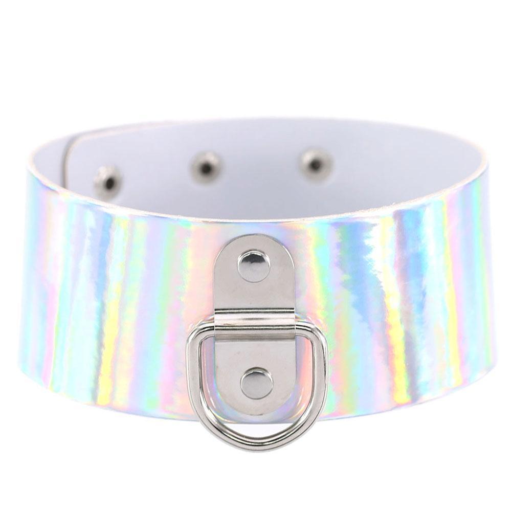 Чокер широкий Holographic с кольцом