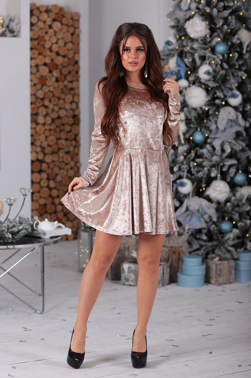 Платье велюровое Марита бежевое