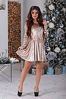 Платье велюровое Марита бежевое, фото 1