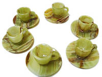 6 чашки из натурального камня оникса с блюдцами