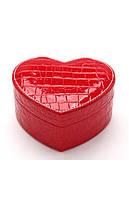 Красная шкатулка в виде сердца для украшений ТБ-133