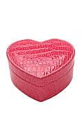 Розовая шкатулка в виде сердца для украшений ТБ-134