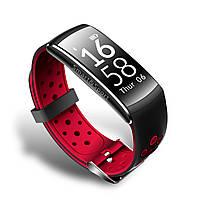 Фитнес браслет тонометр Q8 для iPhone, Android водонепроницаемый черный с красным браслет