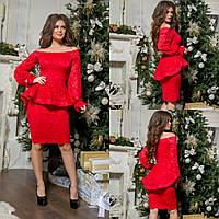 Женское гипюровое красное платье с воланом
