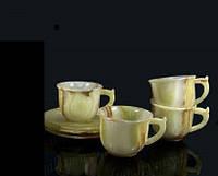 4 чашки из натурального камня оникса с блюдцами