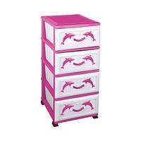 Пластиковый розовый комод с рисунком Dolphin Elif Plastik 299-2LF
