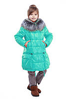 Модная детская стеганная куртка с мехом чернобурки 28-42
