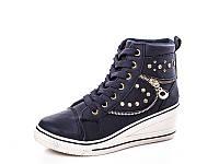 Женские модные ботинки - сникерсы оптом A03 Blue (8пар, 36-41)