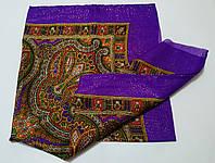 Украинский платок на шею с золотистой нитью Фиолетовый