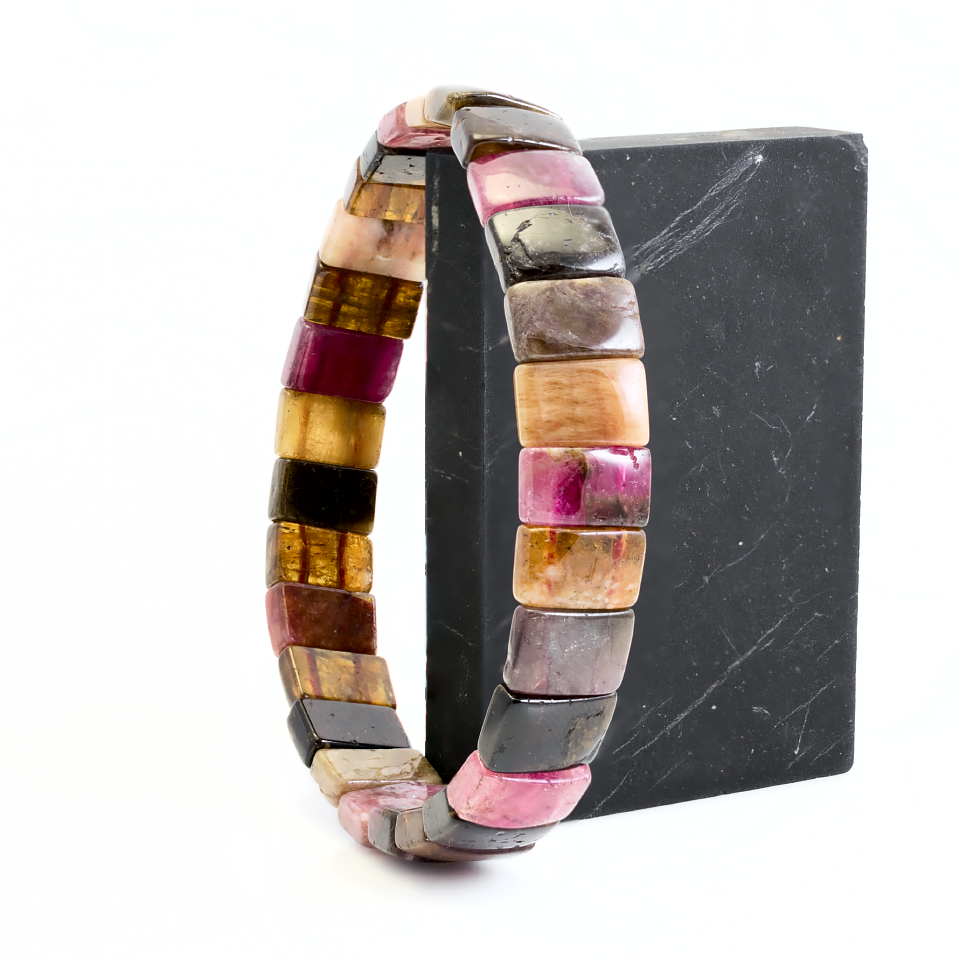 Турмалин разноцветный, браслет, 324БРТ