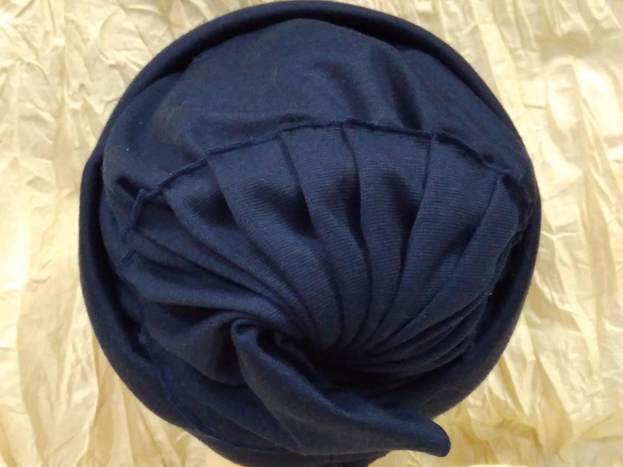 Шапочка двойная гладкий трикотаж цвет синий