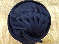 Шапочка двойная гладкий трикотаж цвет синий, фото 1