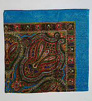 Украинский платок на шею с золотистой нитью Бирюзовый