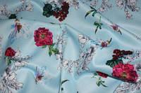 Ткань костюмка сатин нежно голубой