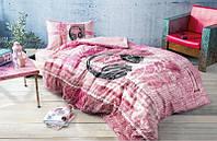 Постельное белье Tac Ranforce Teen Listen розовый полуторного размера