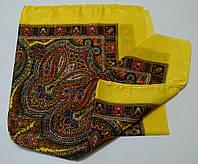Украинский платок на шею с золотистой нитью Желтый