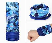 Теплый бафф-шарф ZOLibike (BLUE DOLPHINS)
