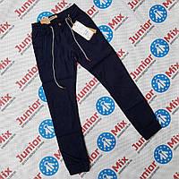 Подростковые котоновые брюки синего цвета на манжетах для мальчиков оптом  GRACE