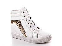 Женские модные ботинки - сникерсы оптом 2977 White (8пар, 36-41)