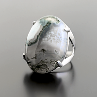 Агат моховый, серебро 925, кольцо, 772КА