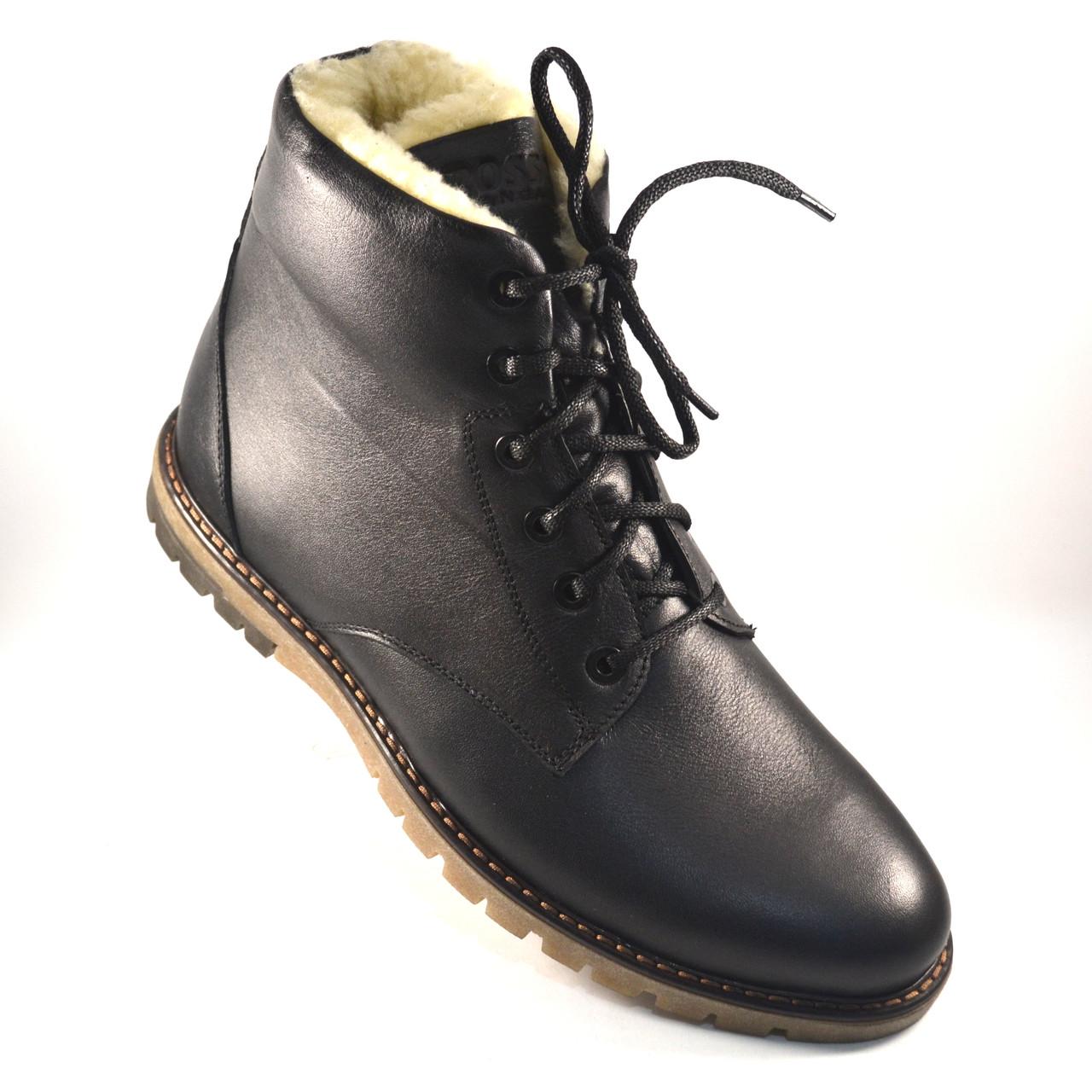 Кожаные зимние мужские ботинки Rosso Avangard. Whisper Black черные