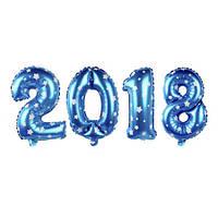 """Фольгированные воздушные шары, цифры """"2018"""", размер 16 дюймов/42 см, цвет: синий с белыми звездами, качество О"""