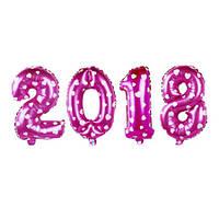 """Фольгированные воздушные шары, цифры """"2018"""", размер 16 дюймов/42 см, цвет: розовый с белыми сердцами, качество"""