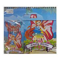 Набор альбом + цветные карандаши 12 штук Фея, 3685 FR