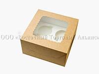 Упаковка для 4 кексів і мафінів - Крафт - 170х170х90 мм