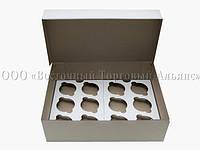 Упаковка для 12 кексов и маффинов - Белая без окна - 355х250х100 мм