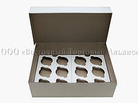 Упаковка для 12 кексів і мафінів - Біла без вікна - 355х250х100 мм