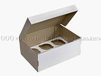 Упаковка для 6 кексов и маффинов - Белая без окна - 255х180х90 мм