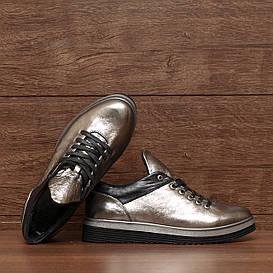 71551| Женские туфли на низком ходу. Серебристые из кожи со шнуровкой