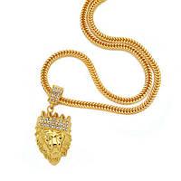 Кулон Лев с короной золотистый на массивной цепочке